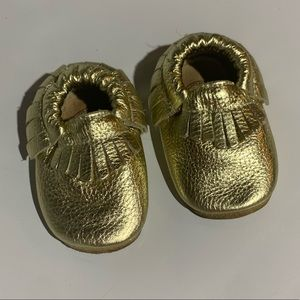 Bird Rock Baby Gold Fringe Mocassins